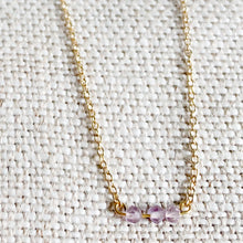 Amethyst mini beads on gold chain necklace