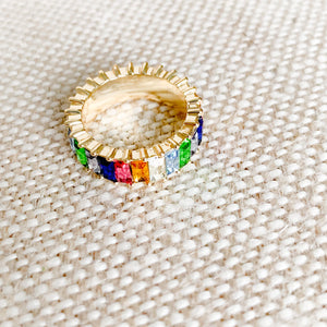 Rainbow baguette crystal gold ring