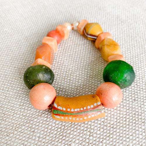 African prayer bead bracelet green peach honey pearls