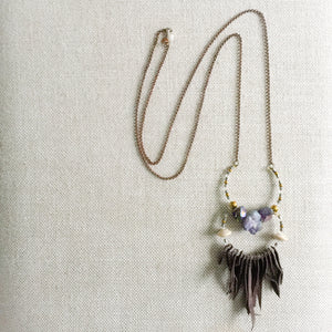 Stone and tassel long necklace