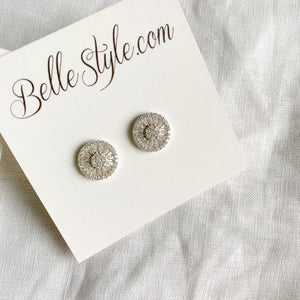 Baguette Circle Crystal Earrings