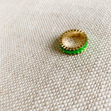 Green baguette crystal gold ring