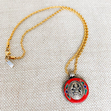 Tibetian amulet with coral turquoise lapis lazuli on gold chain