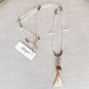 Crystal quartz pyrite chain necklace rosewood gold leather tassel necklace