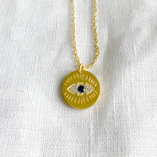 Bellestyle gold pave crystal round evil eye charm necklace