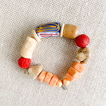 Red white blue African prayer bead elastic bracelet