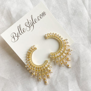 Half Circle Baguette Statement Earrings