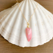Vintage pink shell charm necklace gold chain
