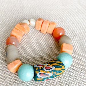 african prayer bead bracelet in blue peach color