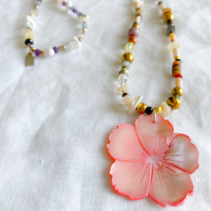 Grace Mother of Pearl Flower Necklace - Bellestyle - semi precious stone girl's blue pink