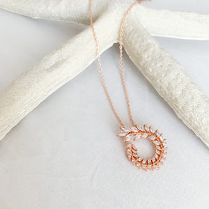 Rose gold laurel design cubic zirconia crystal charm necklace bridal wedding