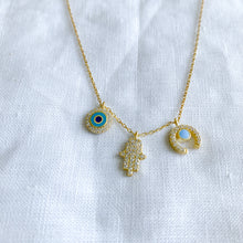 Bellestyle protection gold charm necklace hamsa Turkish evil eye horn pave crystal