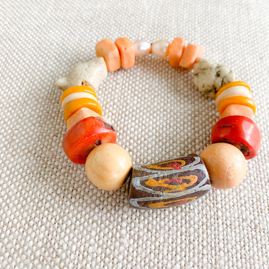 Colorful african prayer bead red peach bracelet