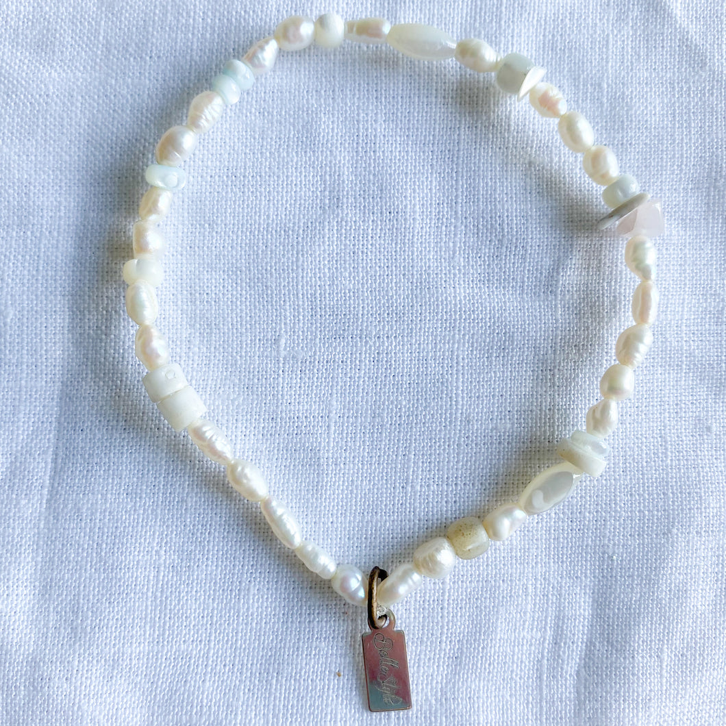 Cloud freshwater pearl bracelet anklet moonstone mother of pearls