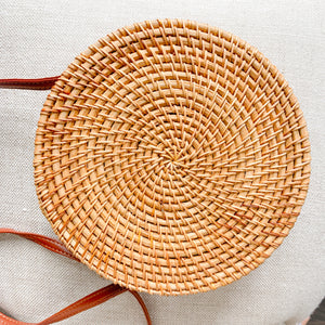 Bow rattan Bali bag with sun design leather strap Bottom view