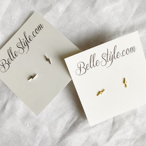 BelleStyle lighting bolt silver gold earrings