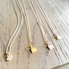 Mini heart charm necklace in gold, rose gold and silver chains