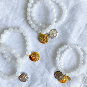 Bellestyle crystal quartz semi precious stone bead St Christopher protect us charm bracelet 6mm 8mm 10mm
