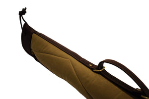 "Gun Case, Waxed 24 oz. Quilted Canvas & Leather, By Thomas Ferney & Co. - 55"" - Thomas Ferney & Co. Store"