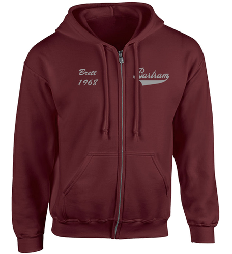 Maroon Full Zip Hoodie - Embroidered Bartram Name