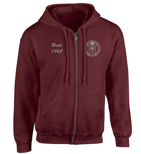 Maroon Full Zip Hoodie - Embroidered Bartram Logo