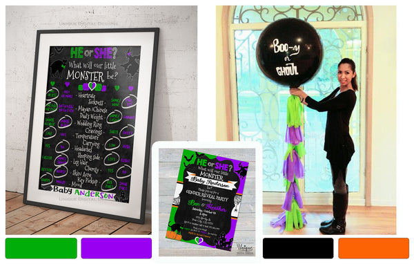 Halloween Gender Reveal Decorations Monster Purple Green theme