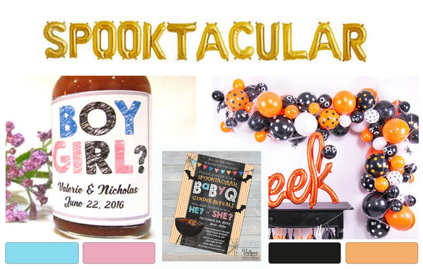 Spooktacular BaByQ Gender Reveal Invitation He or She ideas