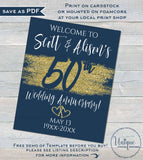 Editable 50th Anniversary Welcome Sign, Any Color Year Wedding Anniversary Sign Decoration, Gold Glitter Printable