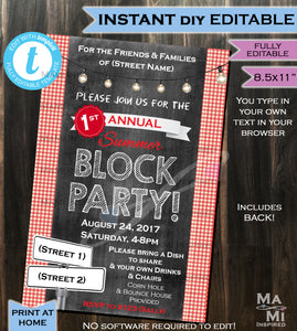 Block Party Invitation FLYER Street Party Neighborhood Invite- BBQ Party- Printable Personalized Chalkboard INSTANT Self Editable 4x6, 5x7 and 8.5X11