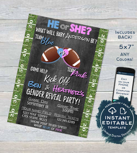 Football Gender Reveal Invitation Baby Shower Invite- Team He Touchdown Grass Chalkboard Template Custom Printable INSTANT Self EDITABLE 5x7