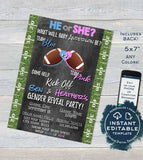 Football Gender Reveal Invitation, Editable Baby Shower Invite, Will Baby Be Team He or She, Touchdown Chalkboard Printable INSTANT DOWNLOAD