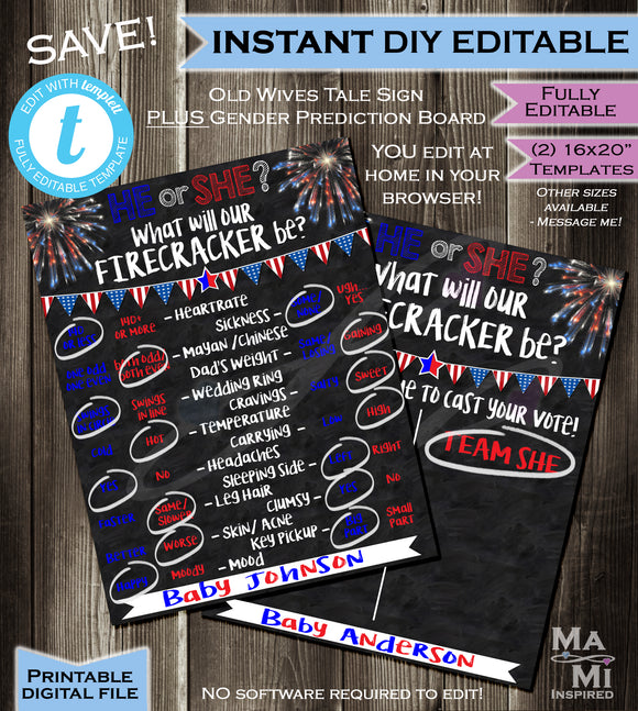 Bundle 4th of July Gender Reveal Party Chalkboard plus Matching Cast your Vote Team He She- Firecracker July 4th INSTANT Self-EDITABLE