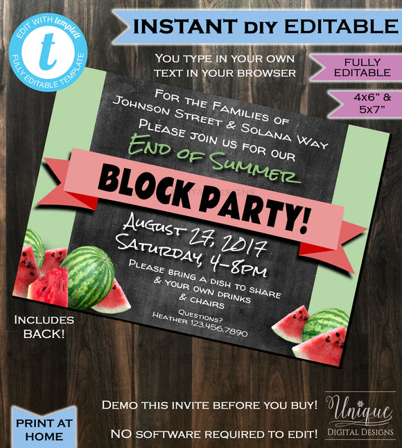 Block Party Invitation End of Summer- Street Party- hoa Party- bbq- Watermelon- Chalkboard- Printable Personalized DIY INSTANT Self-EDITABLE 4x6 & 5x7