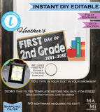 First day of School Snapchat Geofilter Chalkboard- Any Color Any School Year School Spirit- Personalize Custom Digital INSTANT Self-EDITABLE