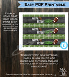 Football Water Bottle Wrap Drink Wrap Kids Birthday Party Decoration Supplies Touchdown Kick Off Chalkboard Custom Printable INSTANT Self EDITABLE