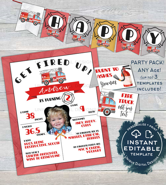 Fire Truck Birthday Decorations, Editable Firefighter Birthday Board, Bunting Flags, Food Labels, Party Printable s