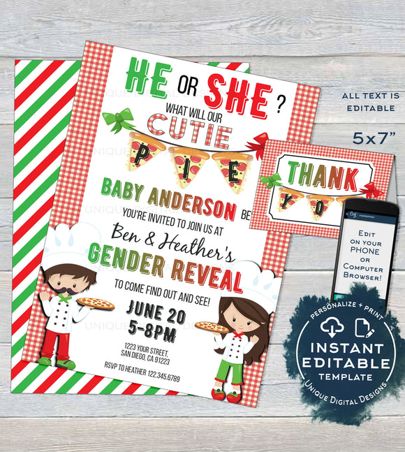 Editable Pizza Party Gender Reveal Invitation, He or She Cutie Pie Pizza Invite, What will Baby be Italian Custom Printable INSTANT DOWNLOAD