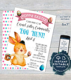 Easter Egg Hunt Festival Flyer, Editable Happy Easter Egg Invitation, Printable School Easter Poster, PTA Community Church INSTANT DOWNLOAD