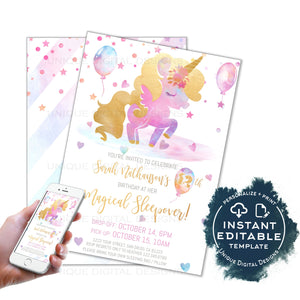 Unicorn Birthday Sleepover Invitation, Editable Unicorn Birthday Party Invite Magical Unicorn Girls Rainbow Glitter Printable INSTANT ACCESS