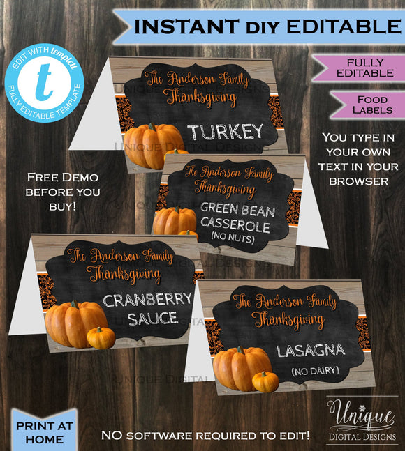 Thanksgiving Food Labels Dinner Party, Editable Food Tents, Friendsgiving Feast Party Pumpkin Custom Printable Template DIY INSTANT DOWNLOAD