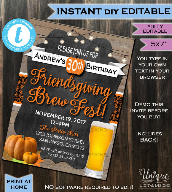 Friendsgiving Brew Fest Birthday Invitation- Thanksgiving Feast Dinner Party Invite - Potluck Pumpkin Printable Custom INSTANT Self EDITABLE