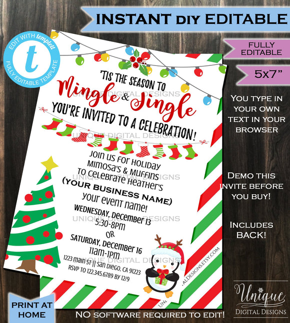 Rodan Fields Invitation Business Launch Party BBL Invite R+F Mingle Jingle Winter Cocktails Mimosa Skin Printable INSTANT Self EDITABLE 5x7