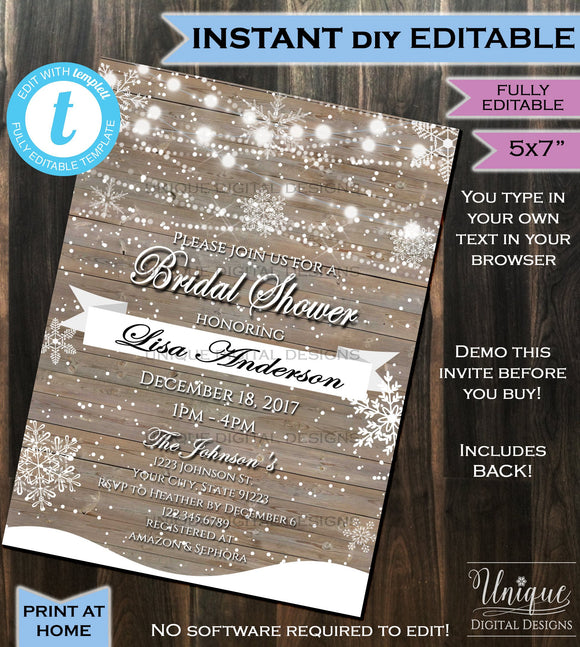 Bridal Shower Invitation Winter Wedding Invite - Bride Party Snow Wood Mason Glowing- Personalize Custom Printable INSTANT Self EDITABLE 5x7