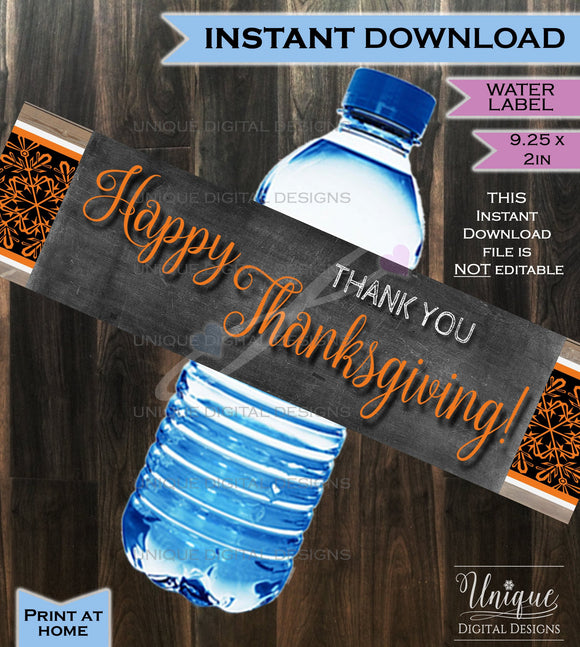 Water Labels Beer Wrap Thanksgiving Dinner decorations- Friendsgiving Feast Pumpkin Thank You Fall - Printable Digital File INSTANT DOWNLOAD