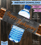 Water Labels Beer Wrap Thanksgiving Dinner decorations- Friendsgiving Feast Pumpkin Thank You Fall - Printable Digital File