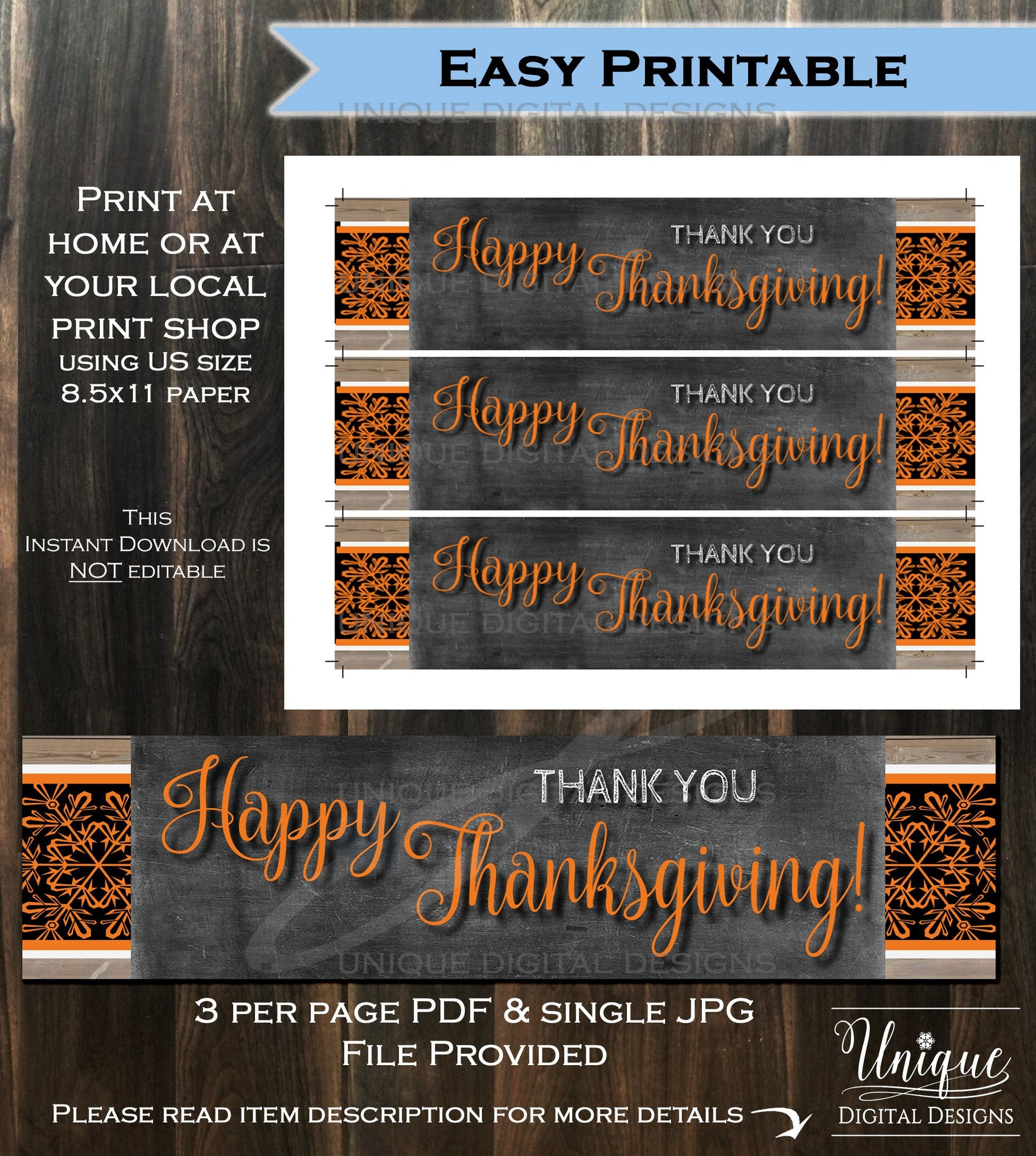 graphic relating to Thanksgiving Printable Decorations known as Drinking water Labels Beer Wrap Thanksgiving Supper decorations- Friendsgiving Feast Pumpkin Thank Yourself Tumble - Printable Electronic History Fast Obtain