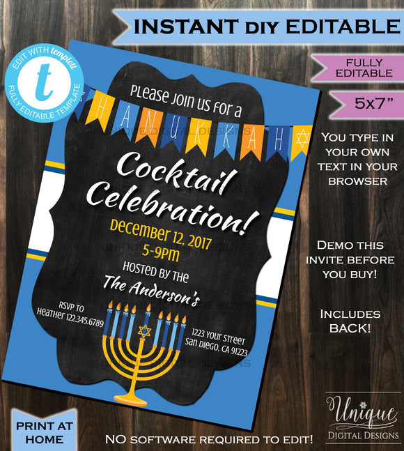 Hanukkah Invitation Celebration Party Invite - Chanukah Lights Blue White Menorah Cocktails Printable Personalized INSTANT Self EDITABLE 5x7