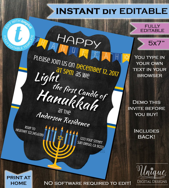 Hanukkah Invitation Celebration Menorah Lighting Party Invite - Chanukah Lights Blue White Printable Personalized INSTANT Self EDITABLE 5x7