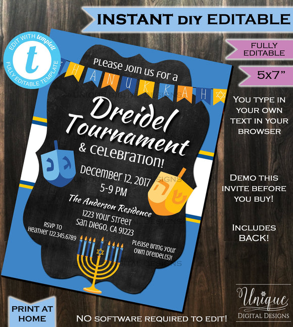 Dreidel Tournament Invitation Hanukkah Celebration Party Invite- Chanukah Lights Blue White Printable Personalized INSTANT Self EDITABLE 5x7