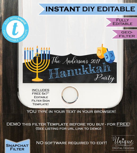 Hanukkah Party Snapchat Geofilter- Menorah Dreidel Chanukah Holiday 8 days Star David Personalize Custom Digital INSTANT Self EDITABLE